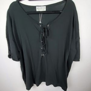 WILDFOX Maxwell Essential Soft Black Lace Front T